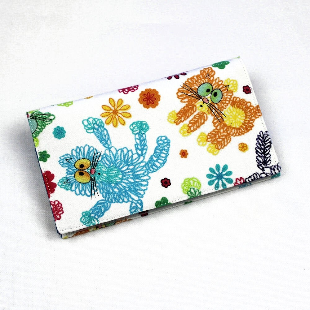Scaredy Cats Checkbook Cover Duplicate Checks Pen Holder Cotton Fabric