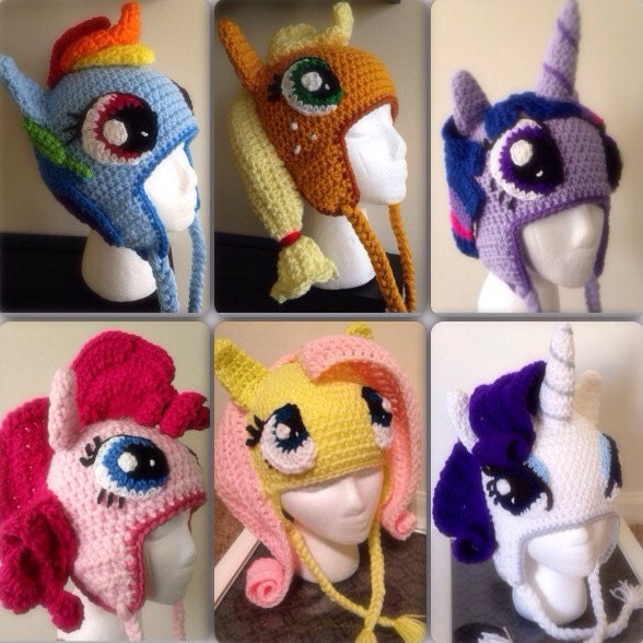 Free Crochet Pattern For My Little Pony Eyes : Items similar to Mane Six Pony Crochet Beanie Hat ...
