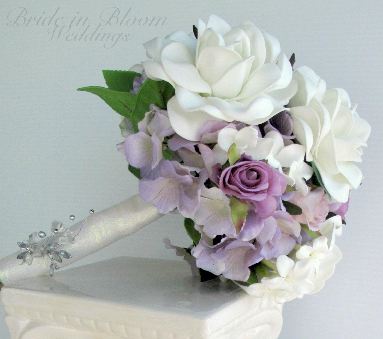 Wedding Bouquet White Gardenia Lavender By BrideinBloomWeddings