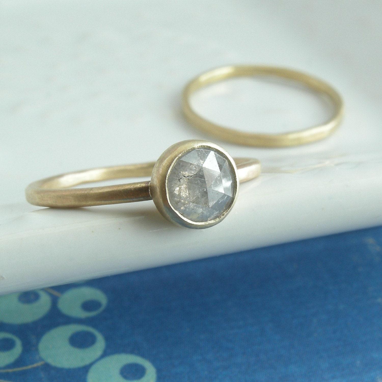 Grey Rose Cut Diamond Wedding Set