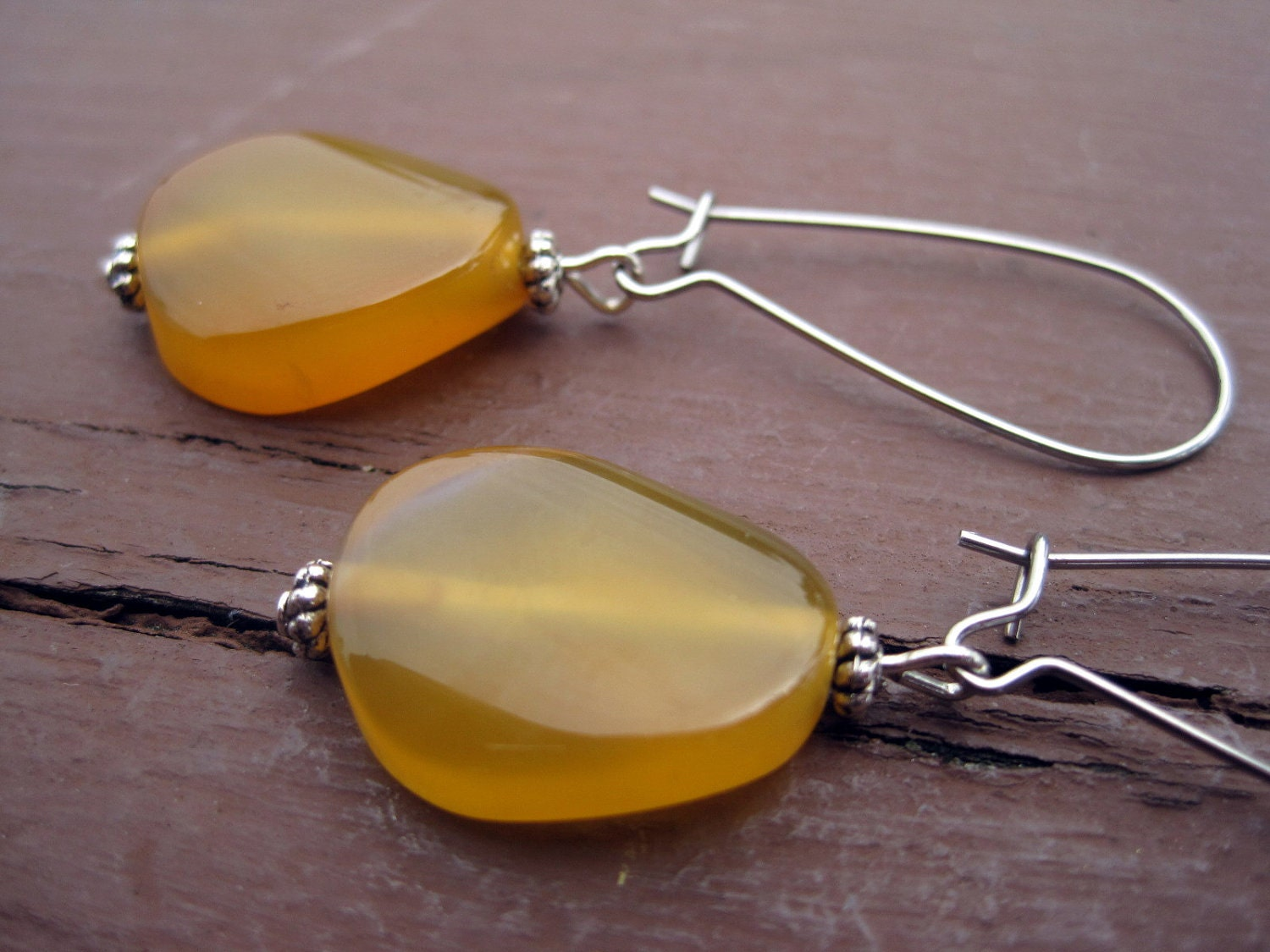 Items similar to carnelian stone earrings orange yellow for Jewelry made from kidney stones
