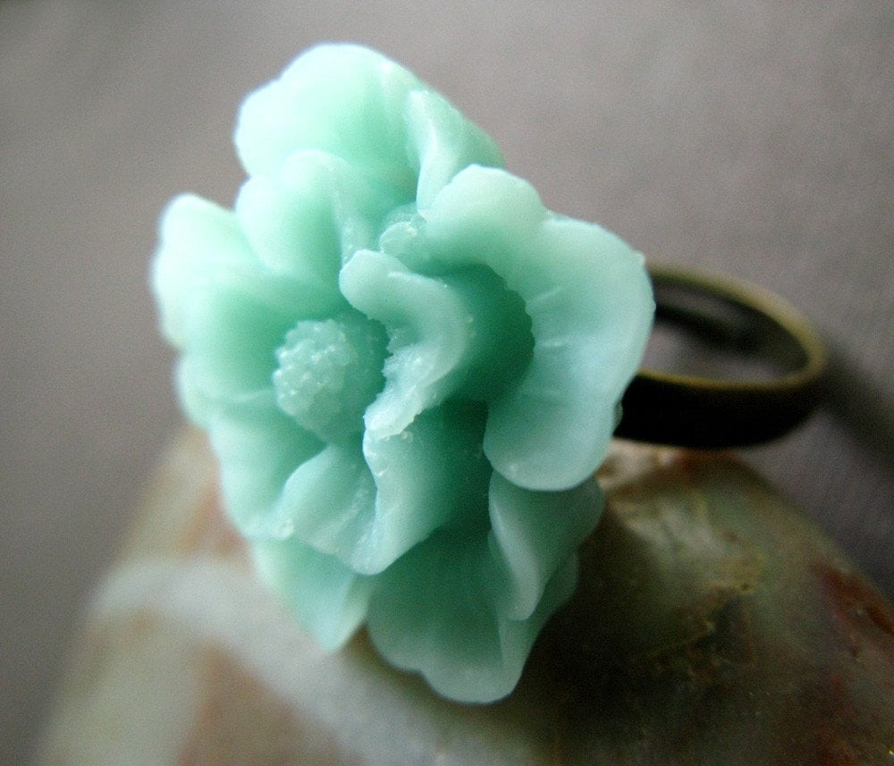 Aqua Sakura Flower Adjustable Ring - A little bit of Spring on your finger, size 6 up to Plus Sizes