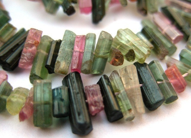 Fabulous Natural Green Pink Tourmaline Crystal Beads - 9 Inch Strand