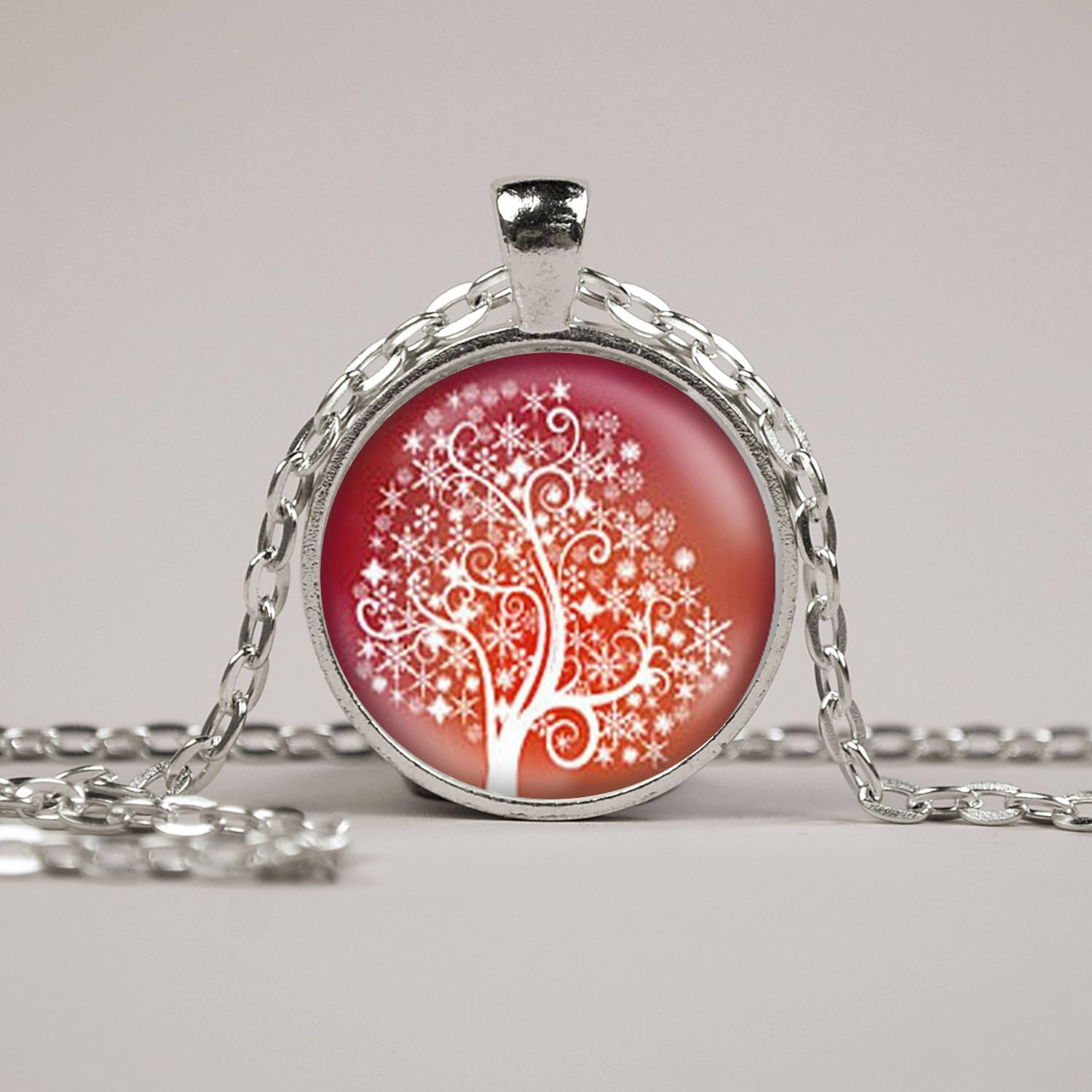 Red and White Snowflake Tree Pendant Necklace or Keyring Glass Art Print Jewelry Charm Gifts for Her or Him Tree of Life Christmas
