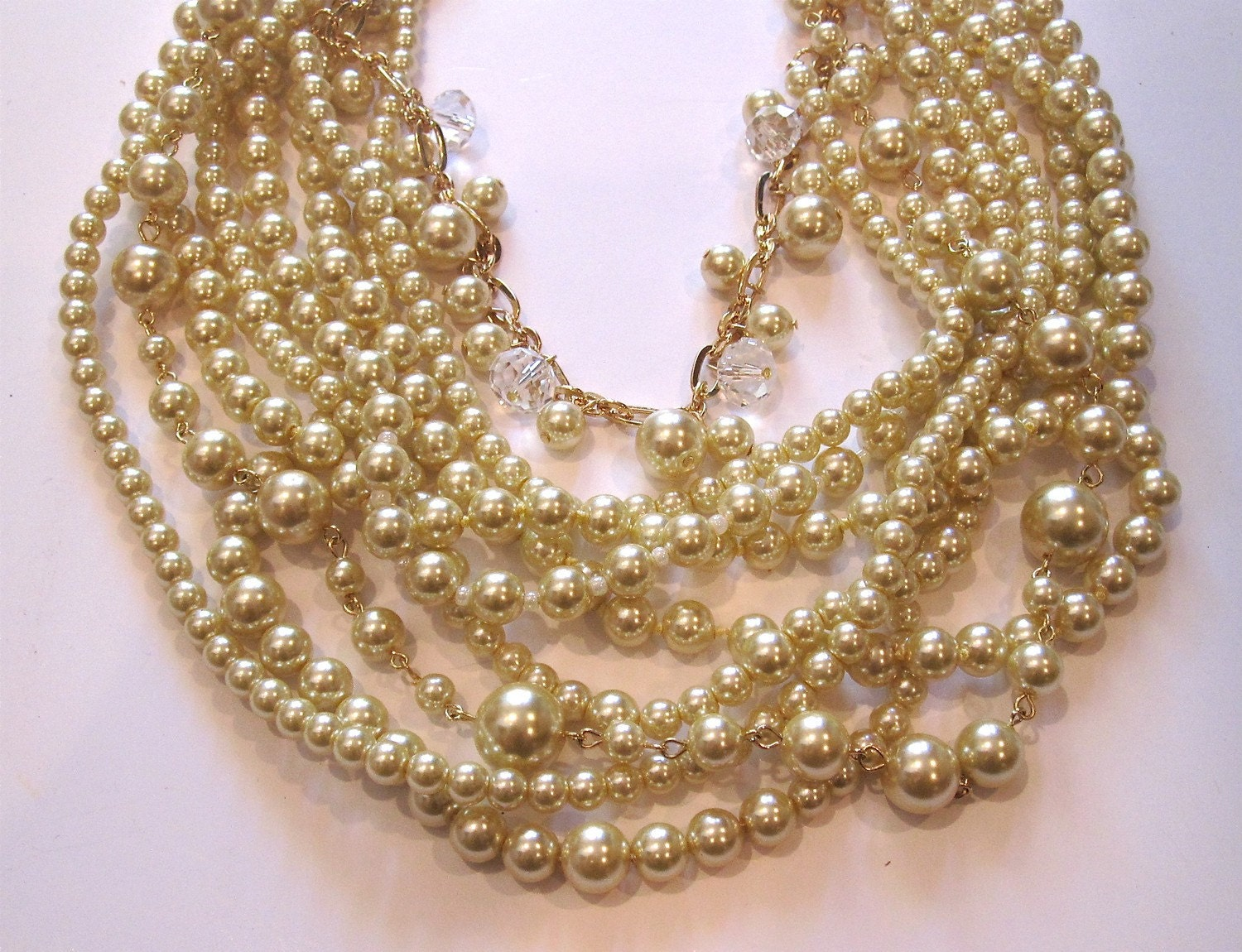 Champagne Glass Pearl, Crystal and Chain Multi Strand Necklace