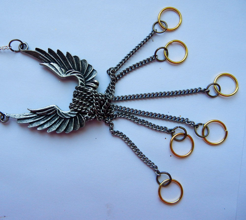 Lucifer's Wings And Angel Halos Necklace By