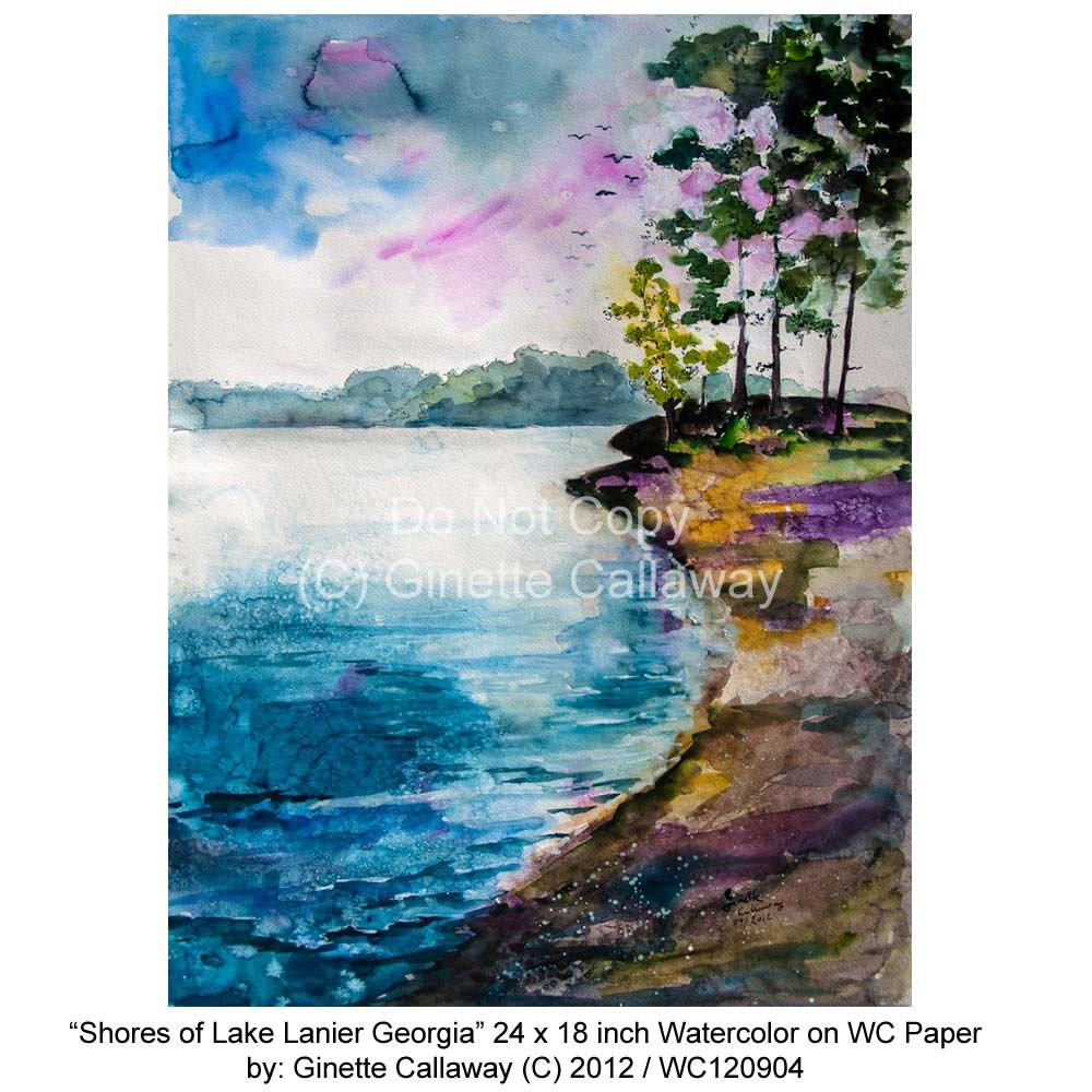 Georgia Lake Lanier Shores in The Morning Original Watercolor 24 by 18 inch by Ginette