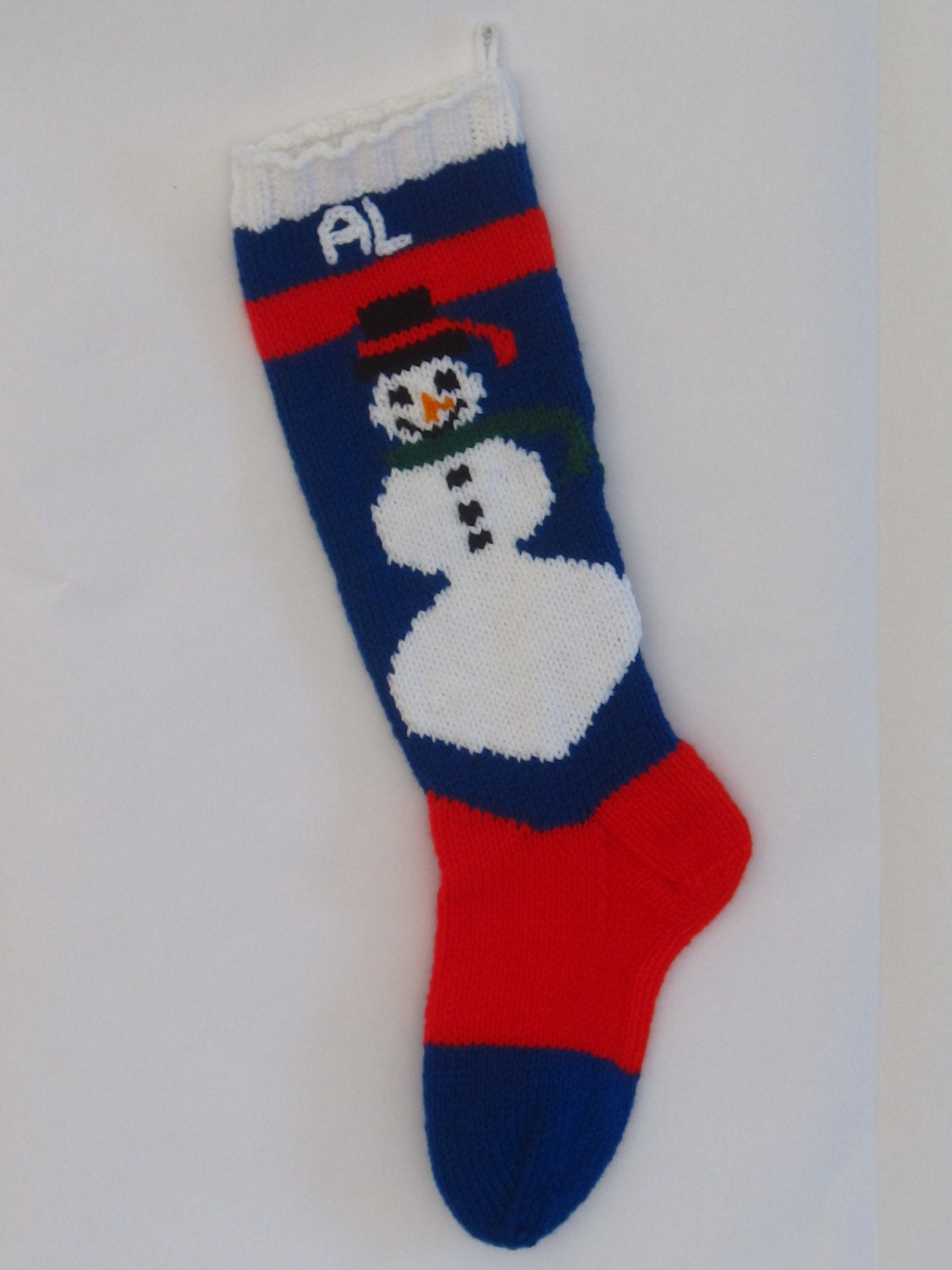 Personalized Knitted Christmas Snowman Stocking by happy83936