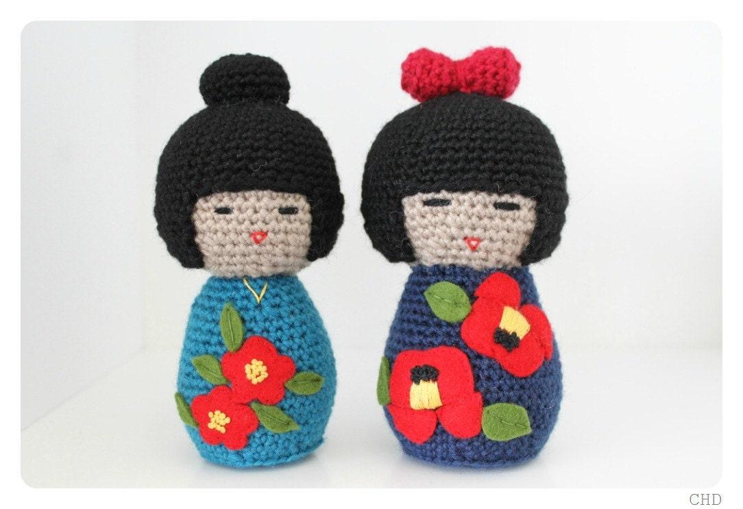 Amigurumi Japanese Doll : Amigurumi Japanese Kokeshi Doll Duo Set Crochet Pattern by ...