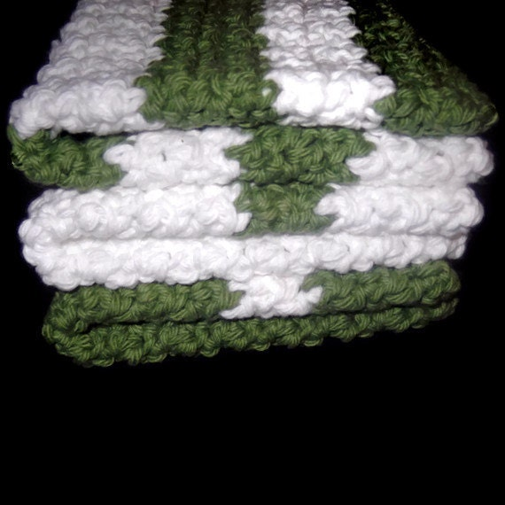 Handmade Crochet Washcloths in Green and White