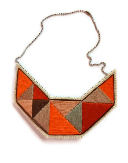 Sumer fashion bib necklace embroidered geometric triangles in beautiful neutral colors and dramatic design - AnAstridEndeavor