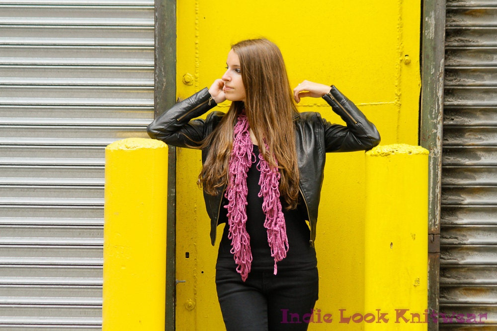 Purple Long Plush Lush Loopy Scarf