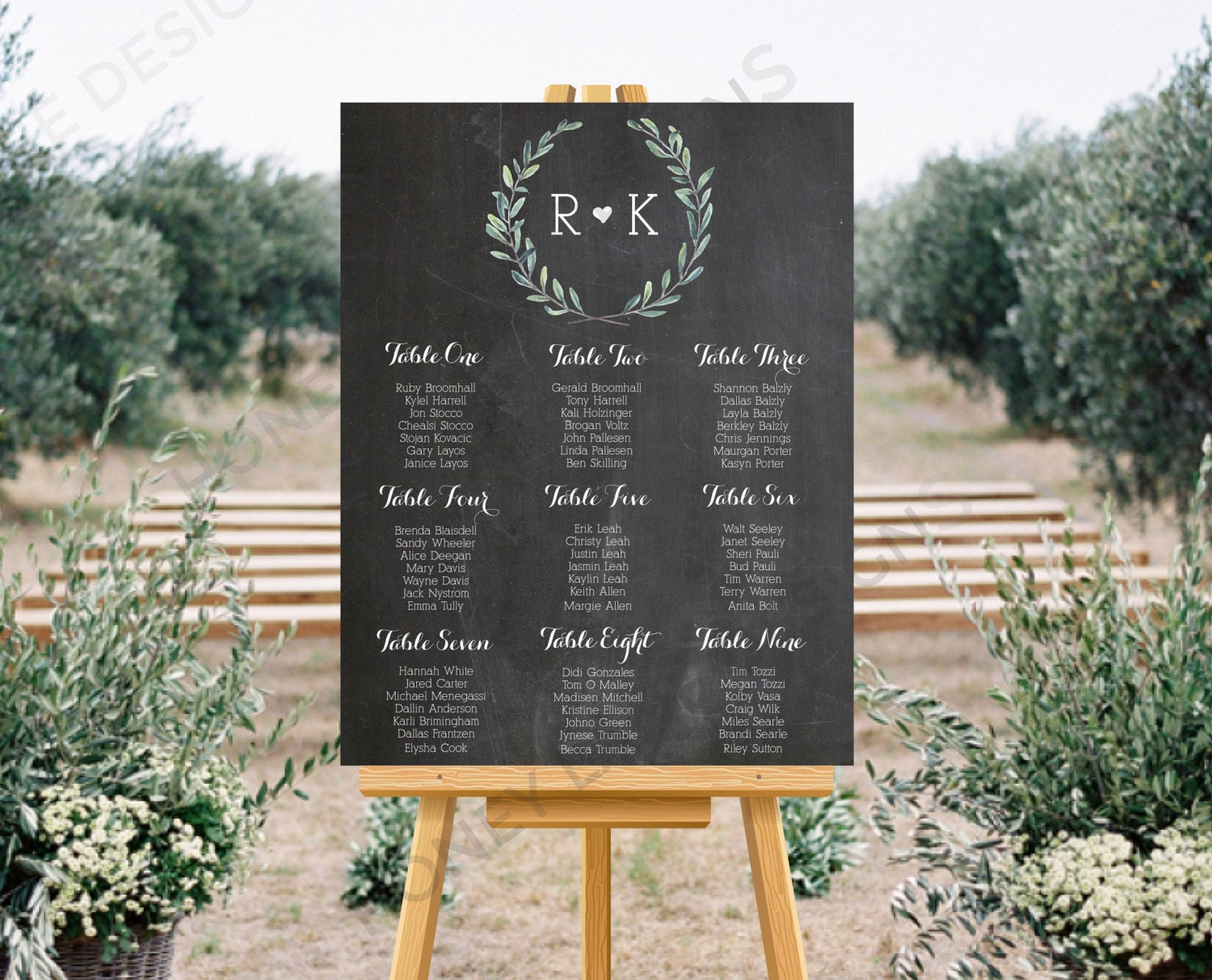 Personalised Printable Wedding Seating Chart Wedding Table Plan  Blue Floral Chalkboard Collection