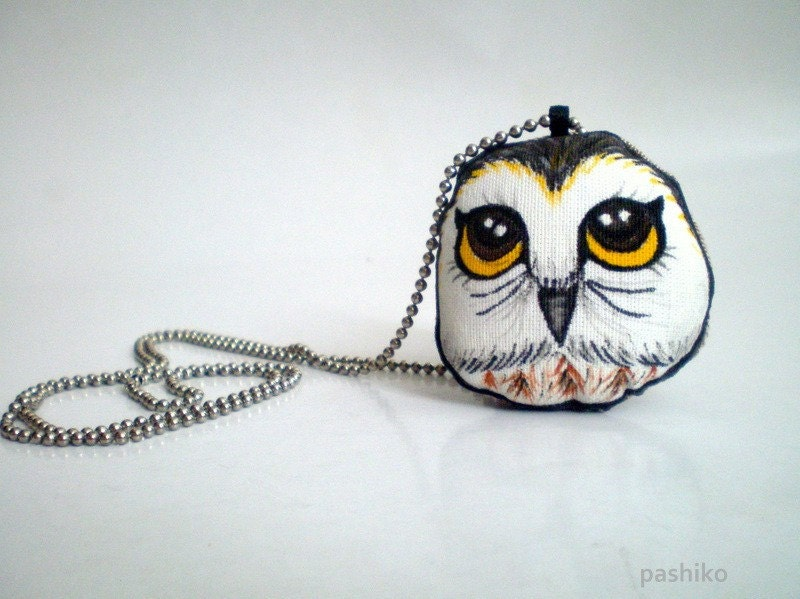 Hand Painted Owl Necklace, Original painting soft plush doll wearable art