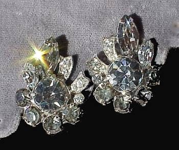 Vintage EISENBERG Rhinestone EARRINGS Clip-ons