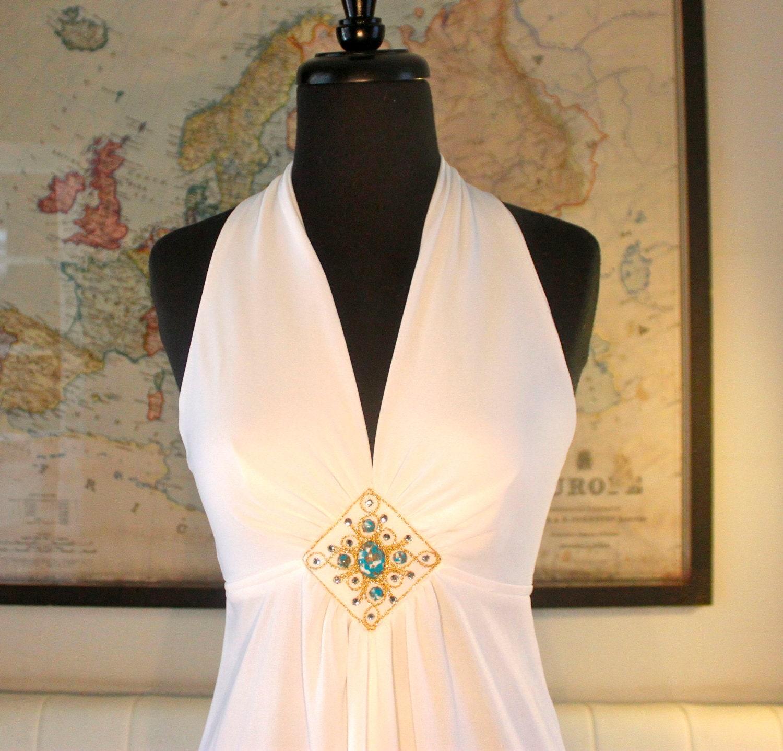 Retro Sexy White Halter Maxi Dress