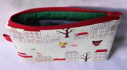 Happy Critter Town Zippered Pouch  White by WolfBait on Etsy