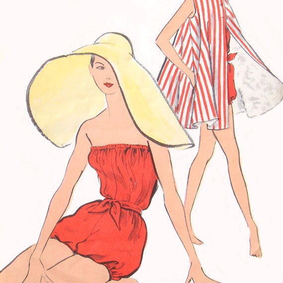 vintage 9183 Vogue BATHING SUIT & beach coat sewing pattern (50s) (UNUSED) (sz14/B34)