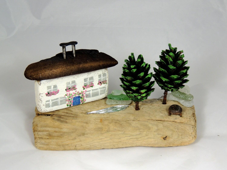 Driftwood House Cottage Pine Cone Trees Coastal Decor