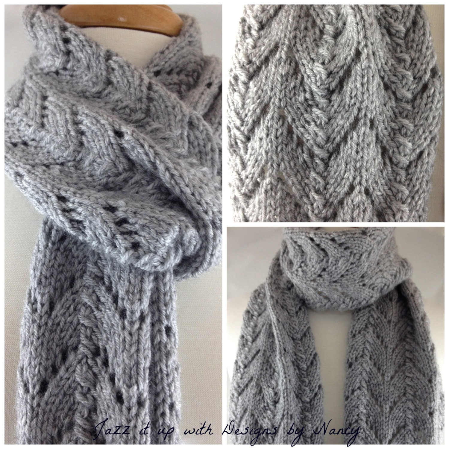 Elegant Hand knit Lacy Extra Long Scarf by JazzitUpwithDesigns