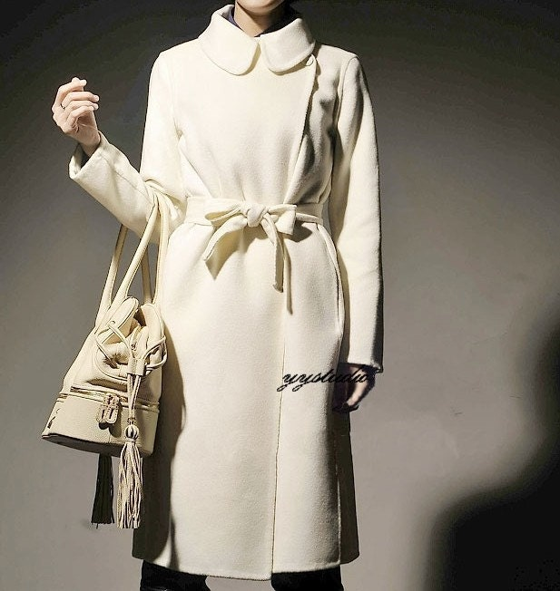 Classic   Cream White Pure Cashmere Silk Satin Luxury Victorian Retro Long Coat  Free Shipping International