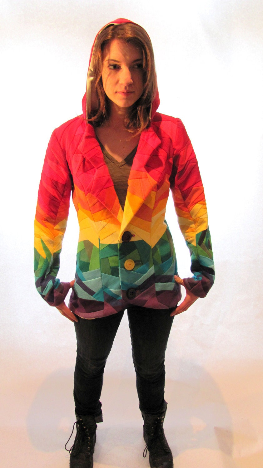 Up Cycled Rainbow Crazy Quilted Hooded Jacket Made From Recycled T-Shirts With Hand Embroidered Patch