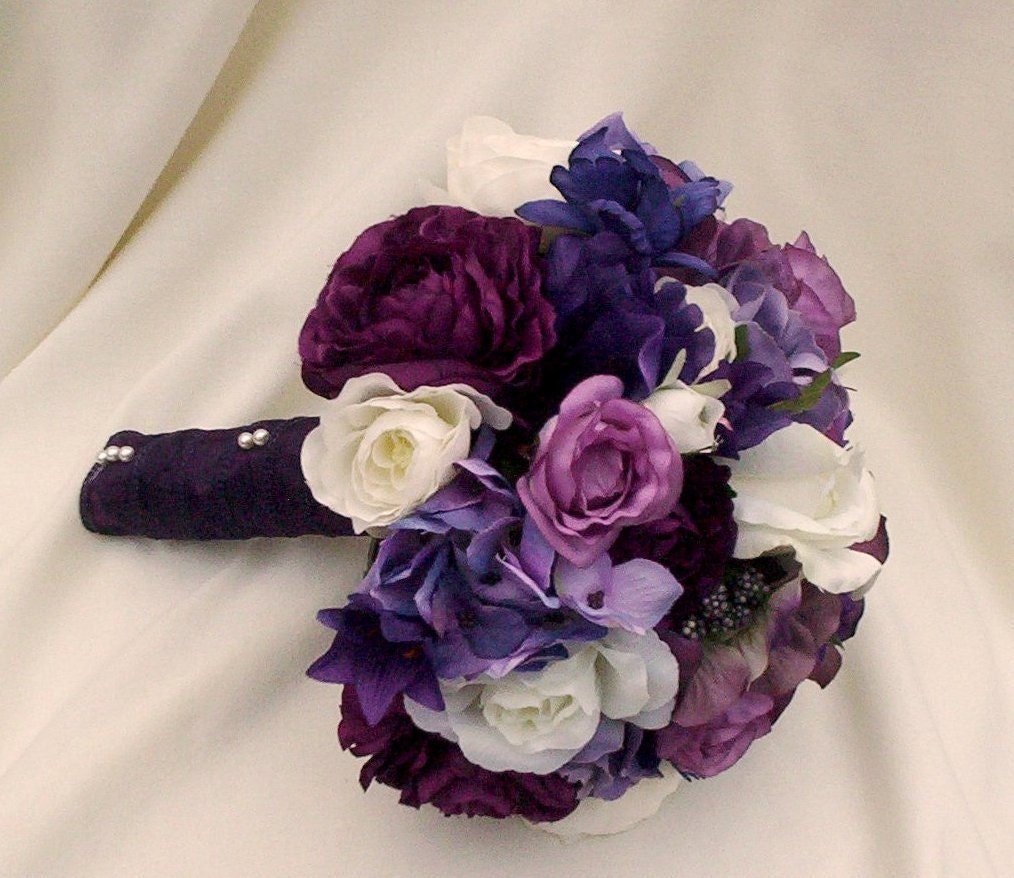 Artificial Purple Wedding Bouquets : Purple artificial wedding bouquet made to order by amorebride