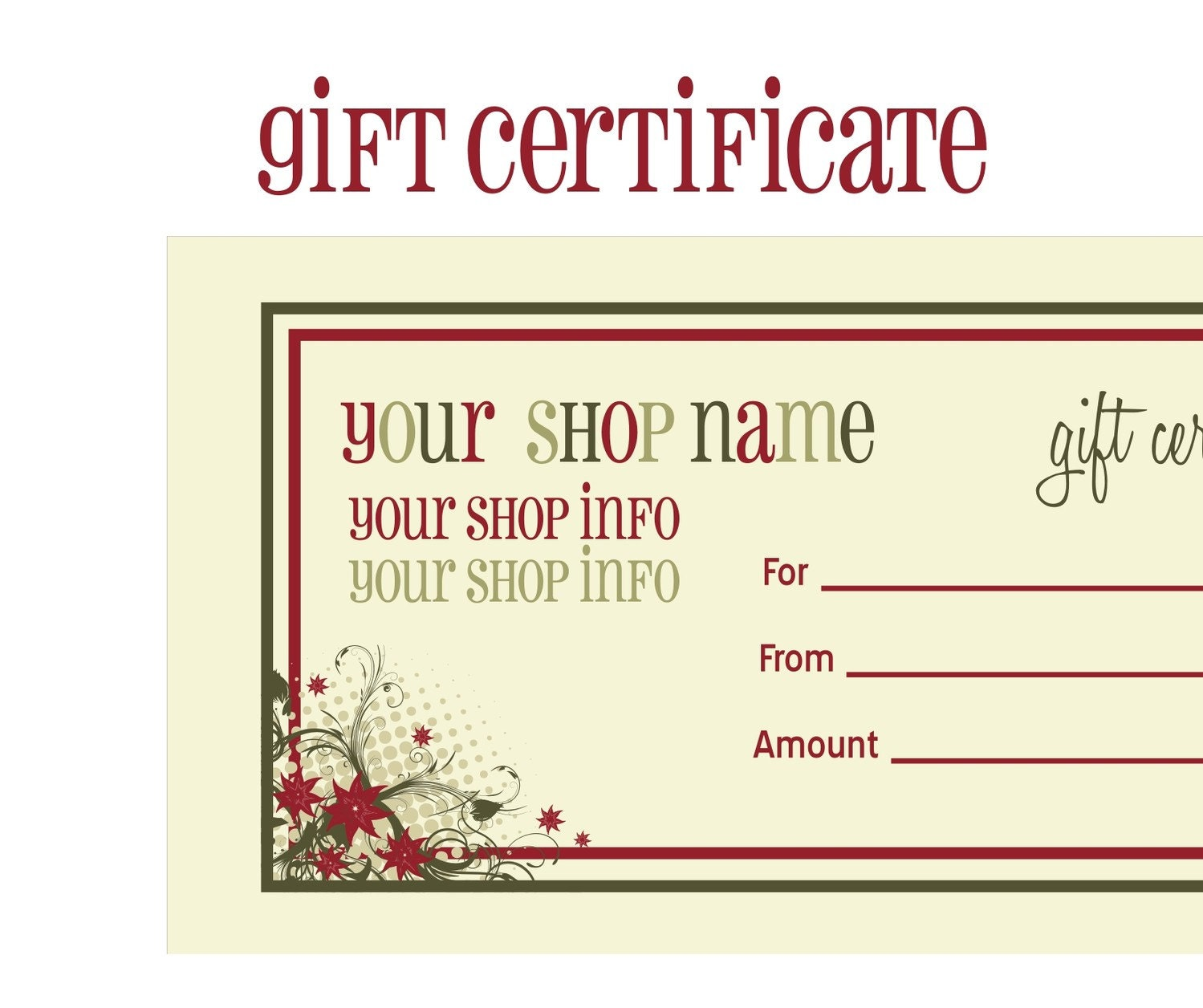 Printable gift certificates new calendar template site for Holiday gift certificate template free printable