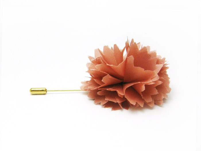 Lapel pin Coral flower Carnation stick pin - etherealflowers