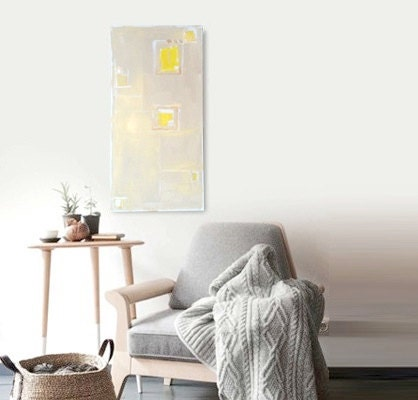 "Abstract Acrylic Painting Original Fine Art 12""x24"" by Linnea Heide - yellow ochre - metallic gold - modern minimal - geometric squares - linneaheideart"