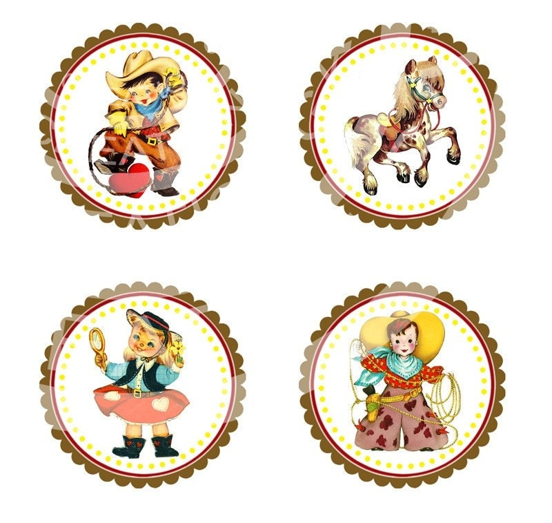 Vintage Cowboy/Girl cupcake toppers