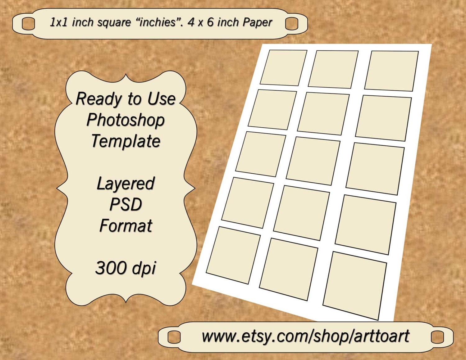etsy shop policies template - digital template collage 1 inch squares inchies by arttoart