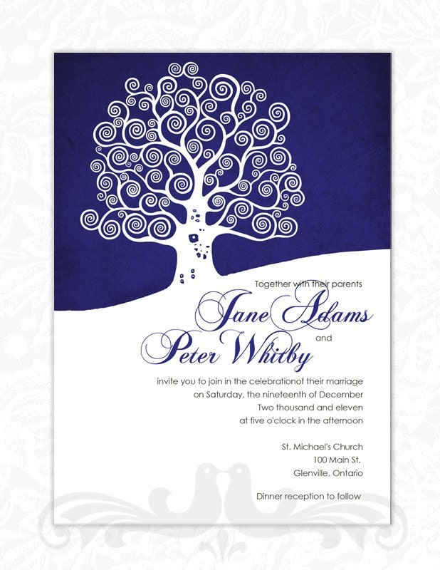 royal wedding invitation template. Winter Tree in Royal Blue