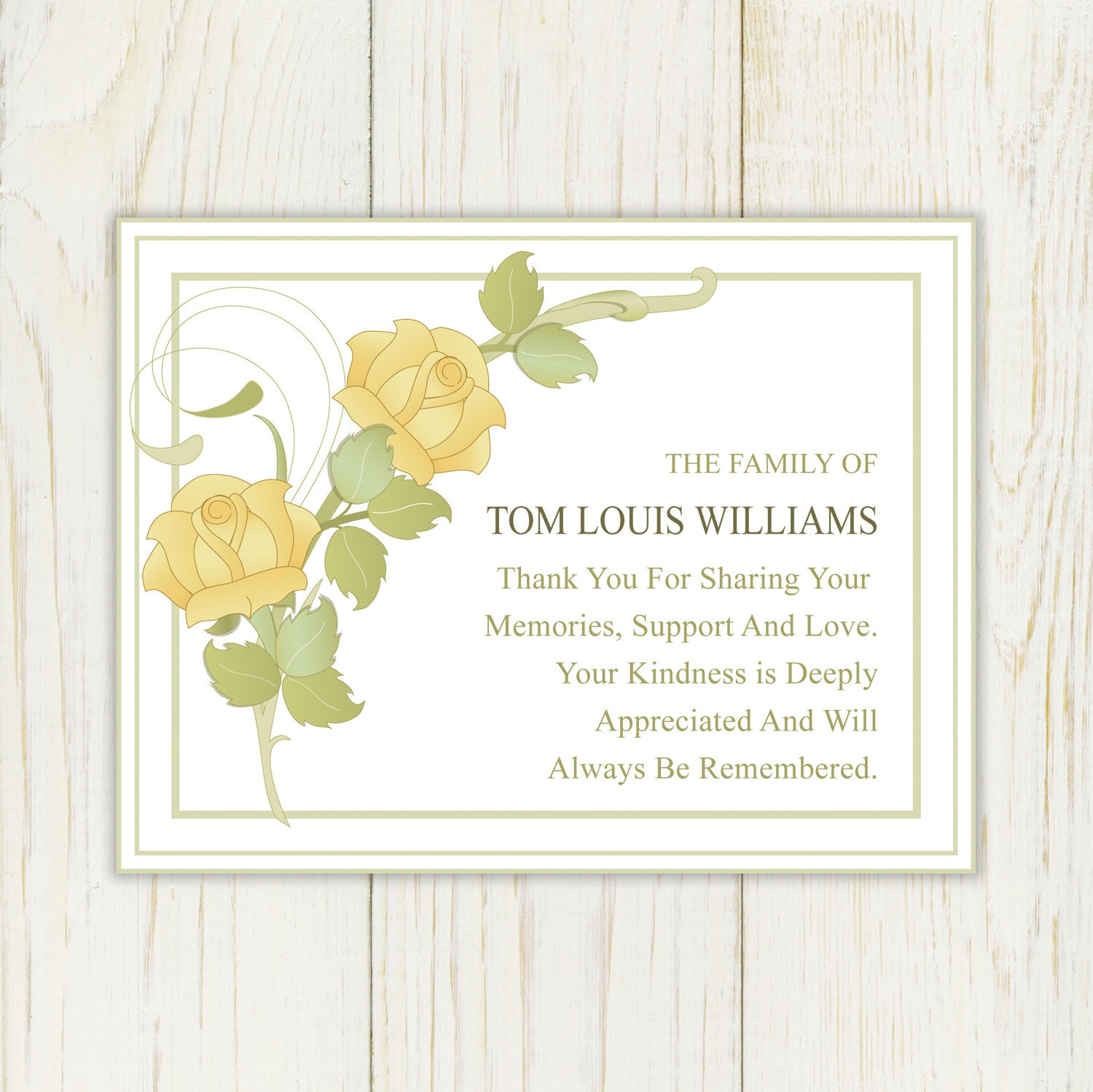 Rose sympathy thank you card printable by eloycedesigns on for Thank you note for condolence gift