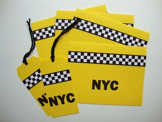 Checker Cab Note Cards and Tags
