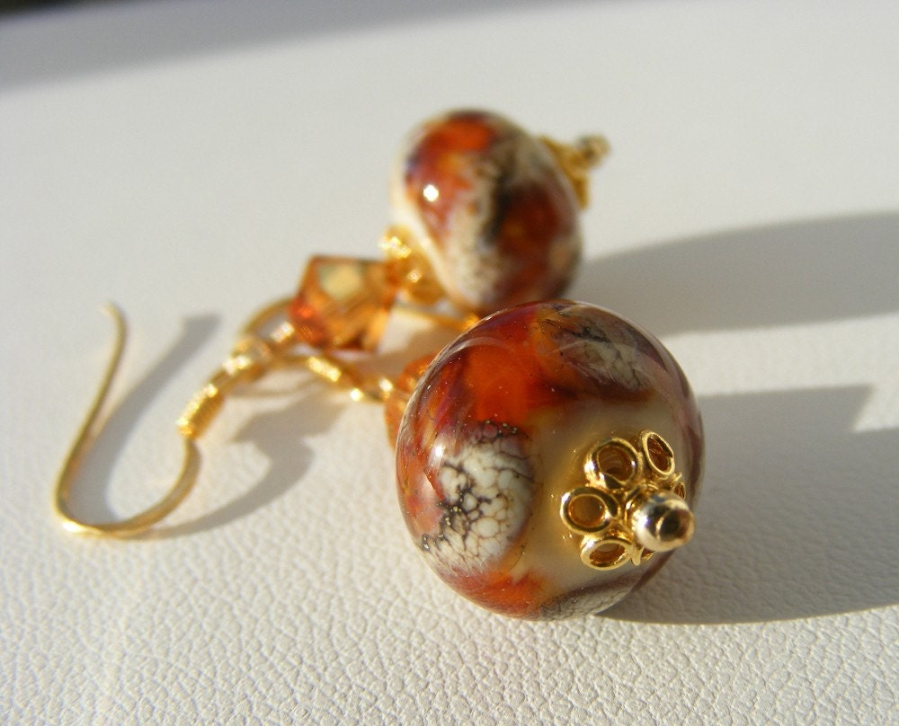 Autumn Gold Earrings, Lampwork Glass and Gold Vermeil, OOAK Exclusive
