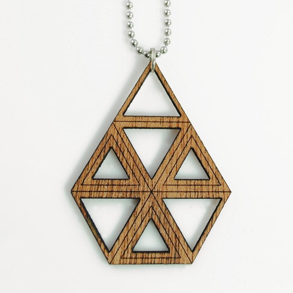 TRIANGLES - Laser Cut Mahogany Wood Pendant