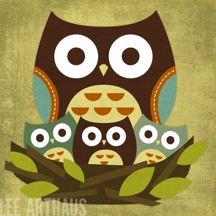 Retro Little Owls 6x6 Print. From leearthaus