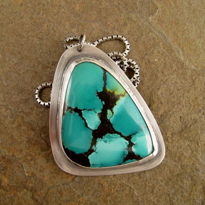 Necklace with bezel set turquoise and oxidized sterling silver
