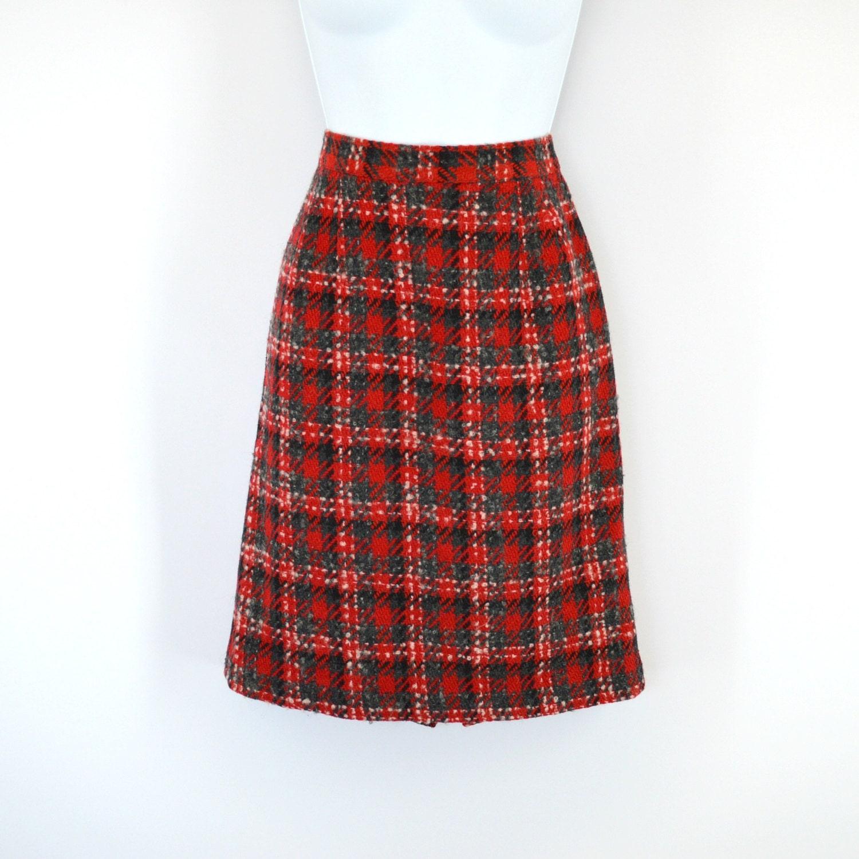 Red plaid pencil skirt