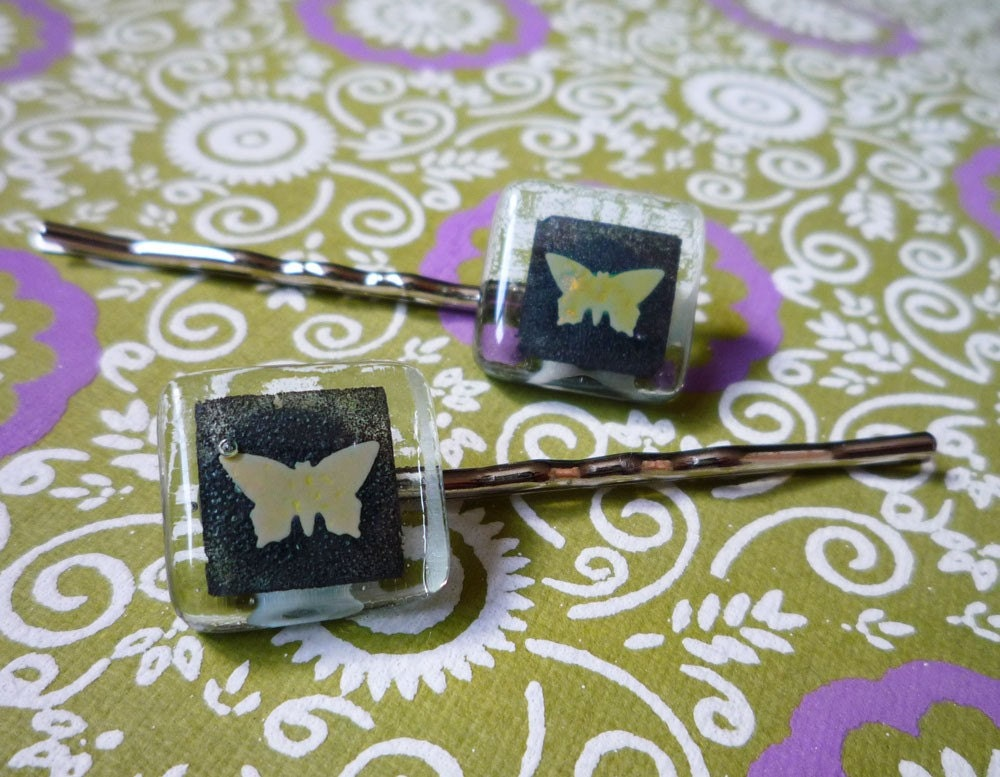 Two fused glass bobby pins