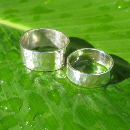 His and Hers Fine Silver Forged Rings