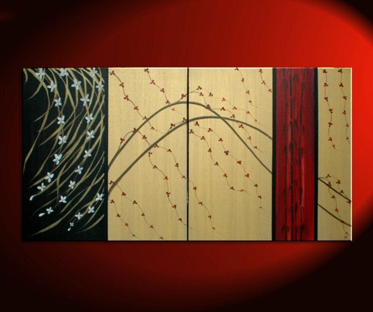 60x30 LARGE Custom Cherry Blossom Painting with Bamboo Gold Red Black Abstract Modern Art Zen Asian Calming Contemporary Wall Art