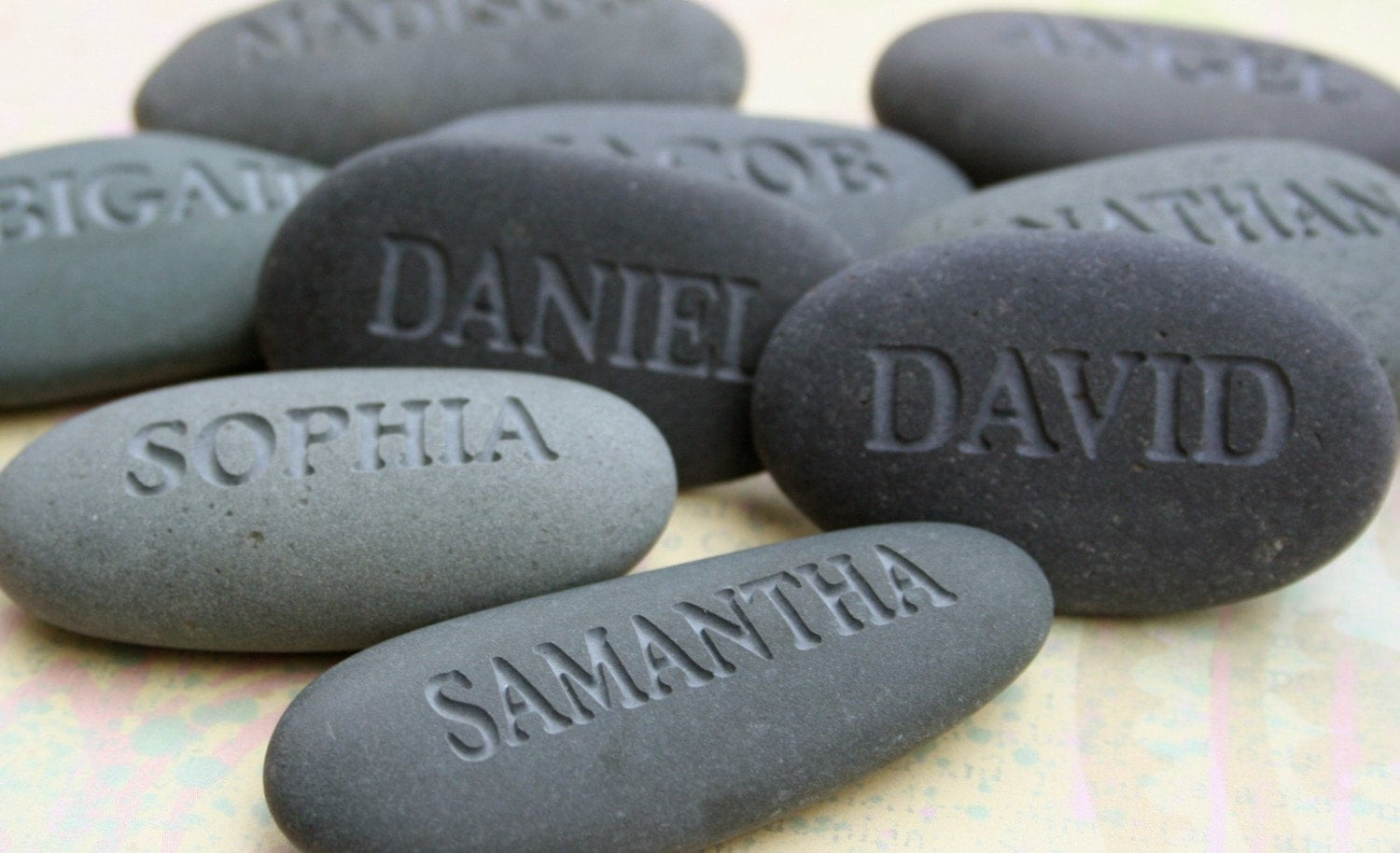 Name Rocks - custom engraved gray stones - set of 4