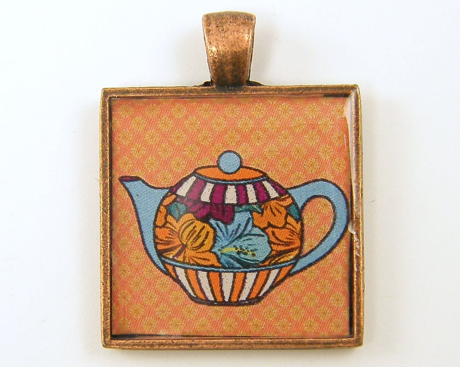 Teapot Jewelry - Orange Blue Pink Teapot Square Resin Pendant
