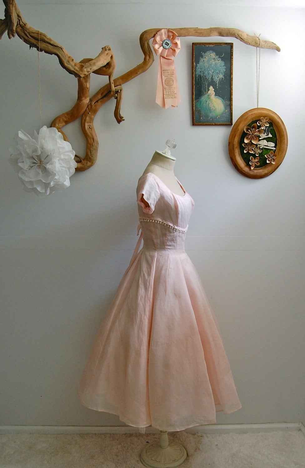 The Charlene- Vintage Late 1950s Kay Selig Pale Pink Cocktail Party Dress