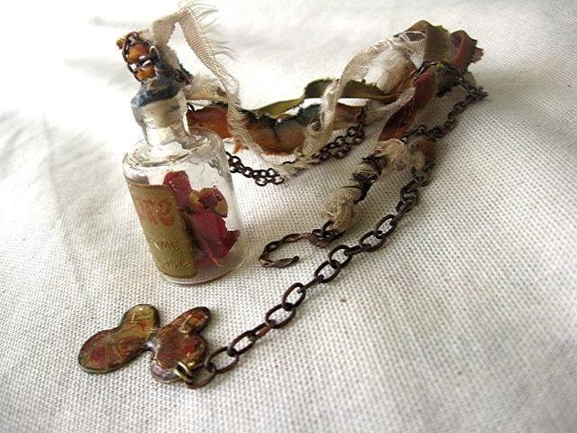 Sale. Perfume.  Antique Bottle and Rose Petal Necklace