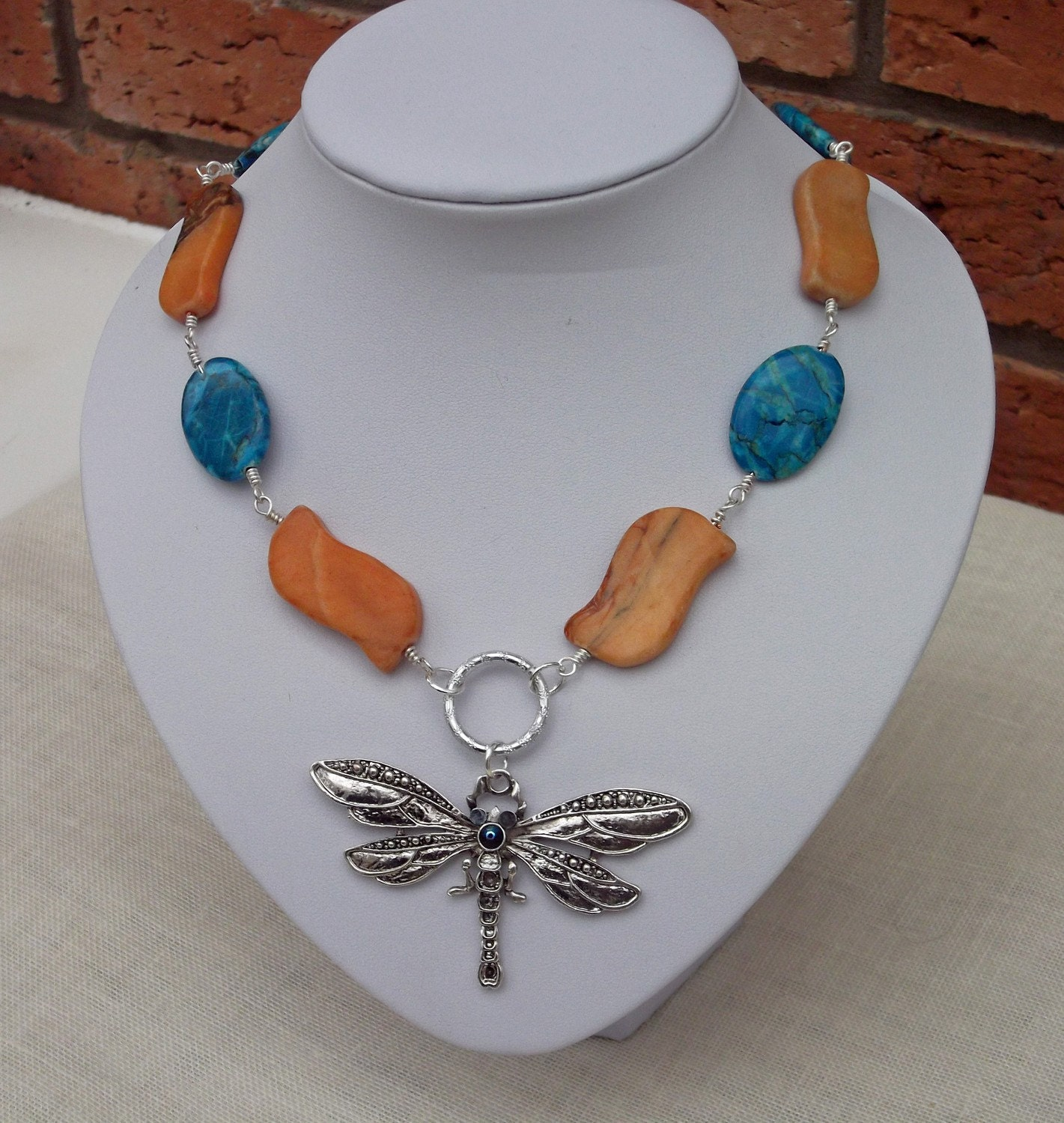 Turquoise and  Jasper Necklace with Dragonfly by evecollection from etsy.com