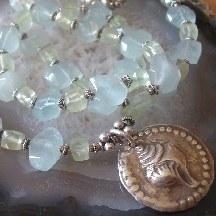 Aquamarine and Prehnite Necklace
