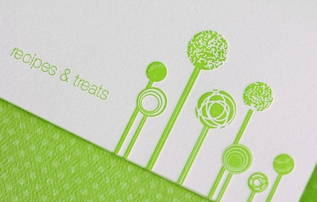 LETTERPRESS Cake Pop Recipe cards, set of 10.